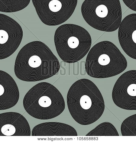 Vinyl Lp Seamless Pattern. Retro Music Background. Vinyl Discs Abstract Texture.