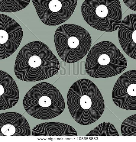 Vinyl Lp Seamless Pattern. Retro Music Background. Vinyl Discs Abstract Texture.