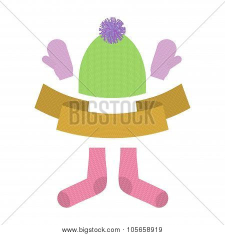 Winter Clothing Set. Warm Woolen Mittens And Socks. Knitted Clothes For Cold Weather.