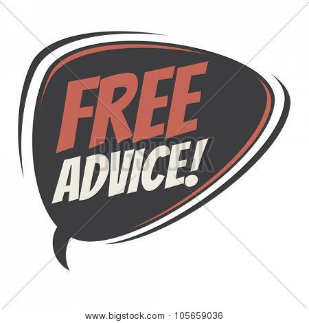 free advice retro speech bubble
