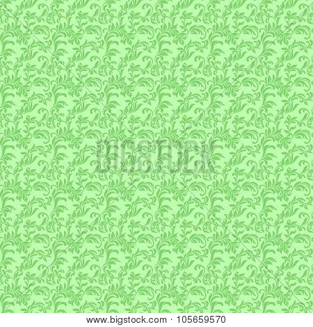 Seamless Pattern With Leaves On A Green Background