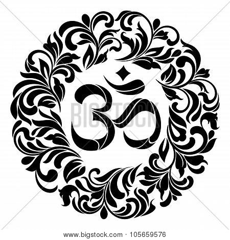 Om Symbol Yoga Or Pranava Of Floral Wreaths - Frame