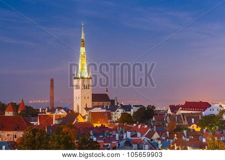 Aerial view old town at night, Tallinn, Estonia