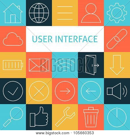 Vector Line Art Modern Web And Mobile User Interface Icons Set