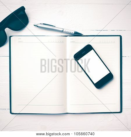 Cellphone With Notebook And Sunglasses Vintage Style