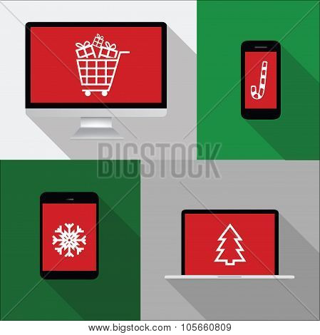 Computer, Phone, Laptop, Notebook Illustration With Christmas Shopping Icons On Red Screen