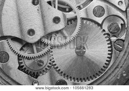Metal Cogwheels, Black And White Macro Photo.