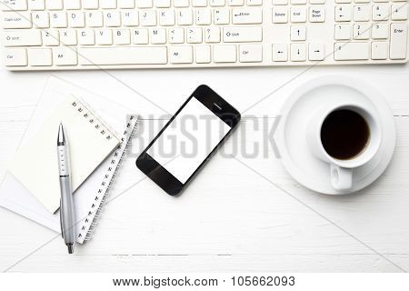 Cellphone With Computer And Coffee Cup