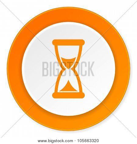 time orange circle 3d modern design flat icon on white background