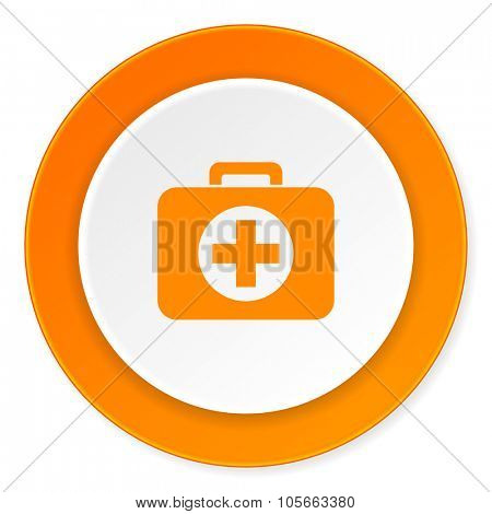 first aid orange circle 3d modern design flat icon on white background