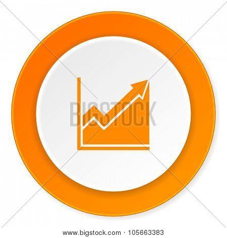 histogram orange circle 3d modern design flat icon on white background