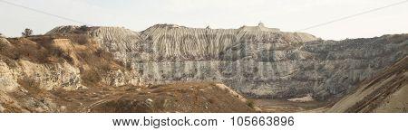 Panorama of white sand hills.