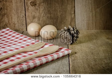 Tablecloth, Wooden Spoon, Fork On Wood Textured Background