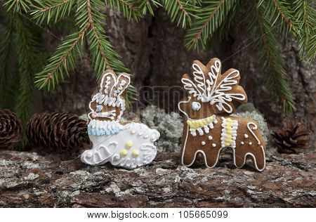Christmas Gingerbread In The Form Of A Deer And Hare .