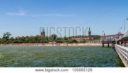 Beach in front of old lighthouse, Sopot