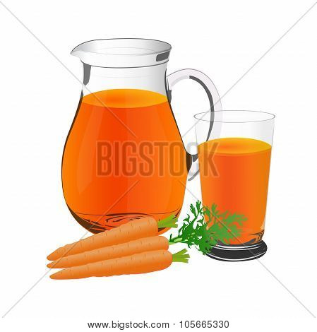 carrot juice and carrots, jug and glass cup, vector, illustration
