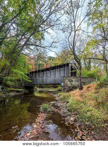 Covered Bridge In Pennsylvania During Autumn