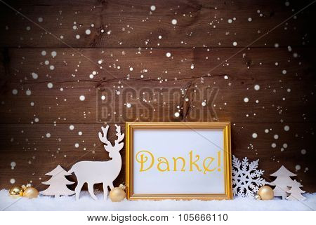 White And Golden Christmas Card, Snowflake, Danke Mean Thank You