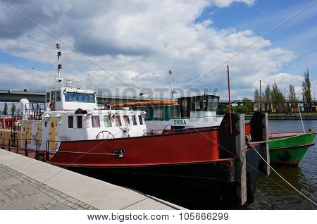 SZCZECIN POLAND - MAY 02 2015: Transport ship on the Odra river