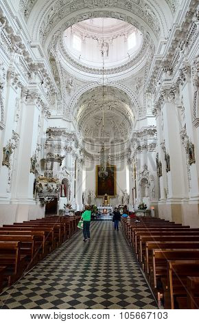 The Interior Of The Church Of The Holy Apostles Peter And Paul, Vilnius, Lithuania