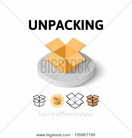 Unpacking icon in different style