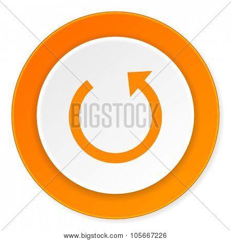 rotate orange circle 3d modern design flat icon on white background