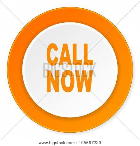 call now orange circle 3d modern design flat icon on white background