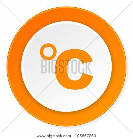 celsius orange circle 3d modern design flat icon on white background