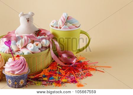 Children Party Decoration. Cupcake With Mug
