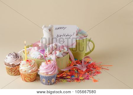 Party Decoration. Cupcake With Mug