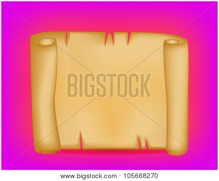 Banner, Card With Empty Paper Scroll On Colorful Background. Blank Vector Ancient Scroll Of Parchmen