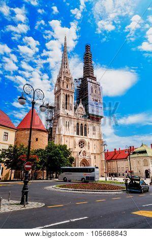 Zagreb, Croatia - June 17: Zagreb Cathedral During The Restoration Of The Facade, In Zagreb, Croatia