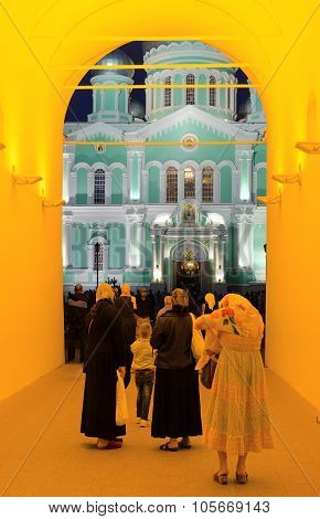 Holy Trinity Seraphim-diveevo Nunnery, Evening View Of Trinity Cathedral, Diveevo, Russia