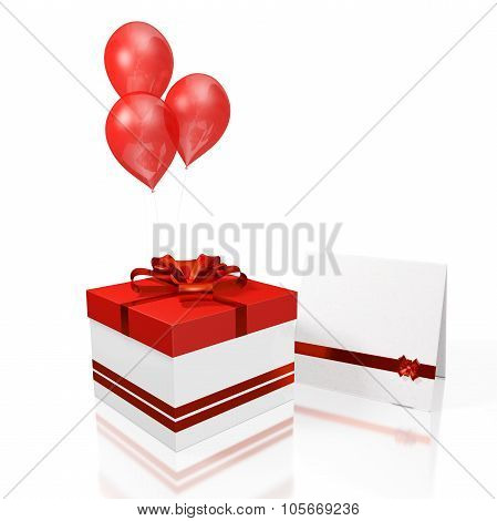 Gift Box Greeting Card And Red Balloon