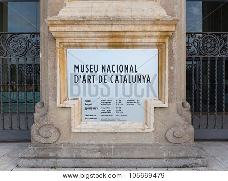 Information Plate Of The National Art Museum Of Catalonia