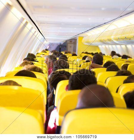 Aisle Inside A Plane