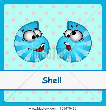 Shell, two funny characters on a blue background