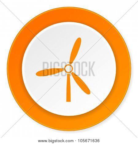 windmill orange circle 3d modern design flat icon on white background