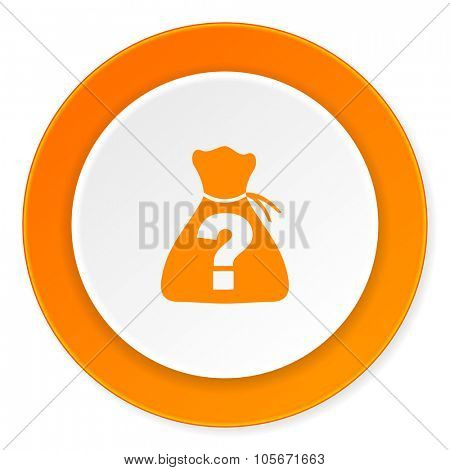 riddle orange circle 3d modern design flat icon on white background