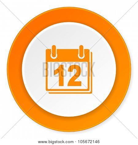 calendar orange circle 3d modern design flat icon on white background