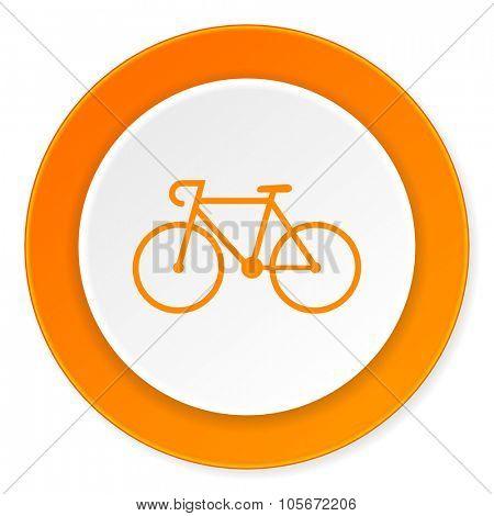 bicycle orange circle 3d modern design flat icon on white background