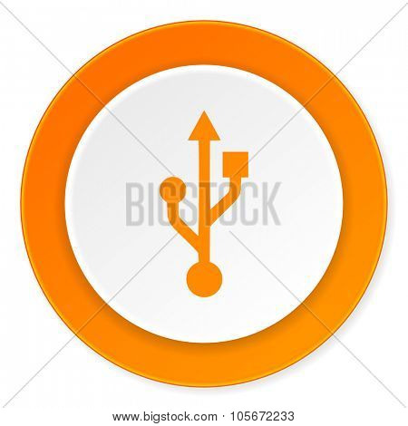 usb orange circle 3d modern design flat icon on white background