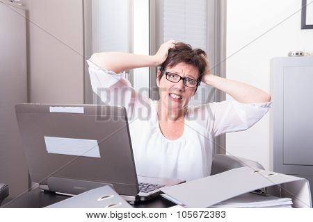 Woman In Her Homeoffice Has Stressy Moment