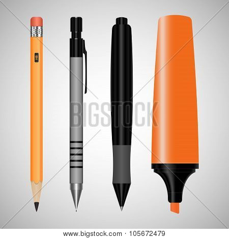 set of office supplies. drawing