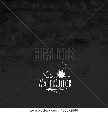 Abstract vector hand drawn black and white watercolor background
