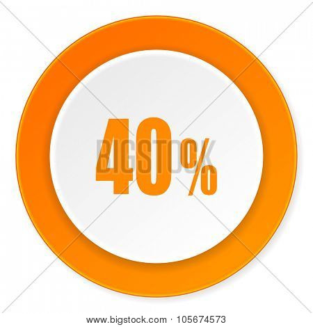 40 percent orange circle 3d modern design flat icon on white background