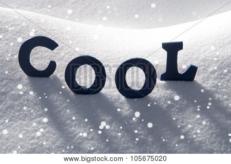 Blue Word Cool On Snow, Snowflakes