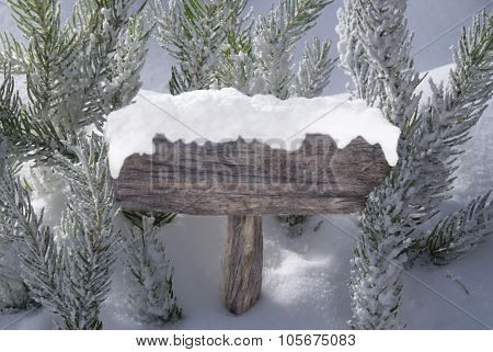 Christmas Sign With Copy Space Snow Fir Tree Branch