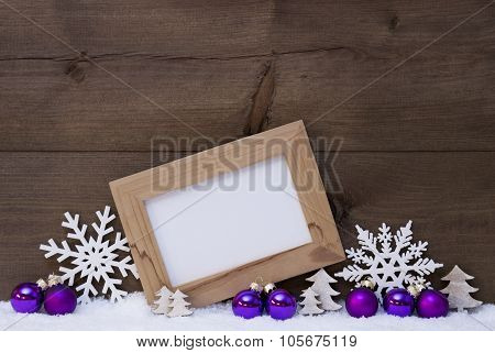 Purple Christmas Decoration, Copy Space, Snow, Snowflake