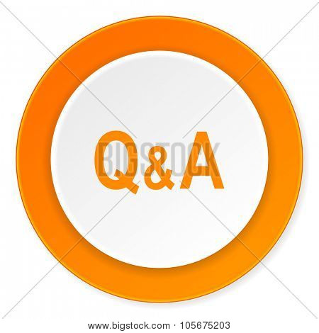 question answer orange circle 3d modern design flat icon on white background